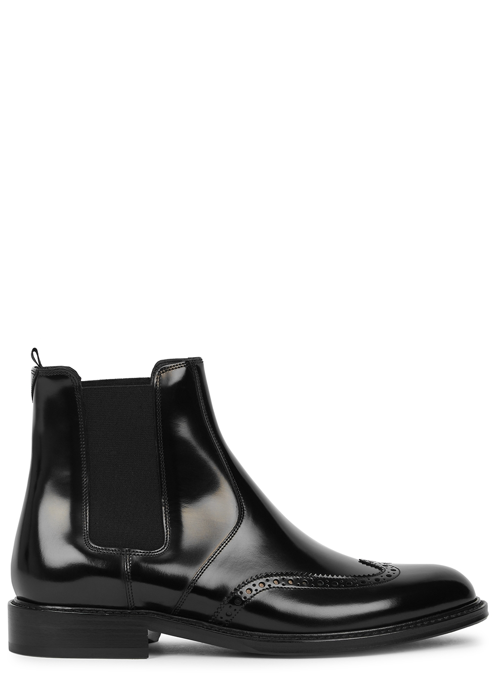 Army black glossed leather Chelsea boots