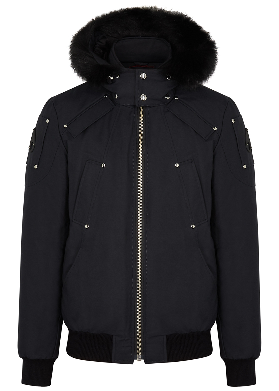 Ballistic fur-trimmed cotton-blend bomber jacket