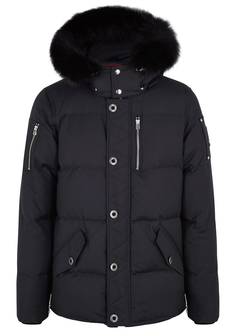 3Q navy fur-trimmed cotton-blend coat