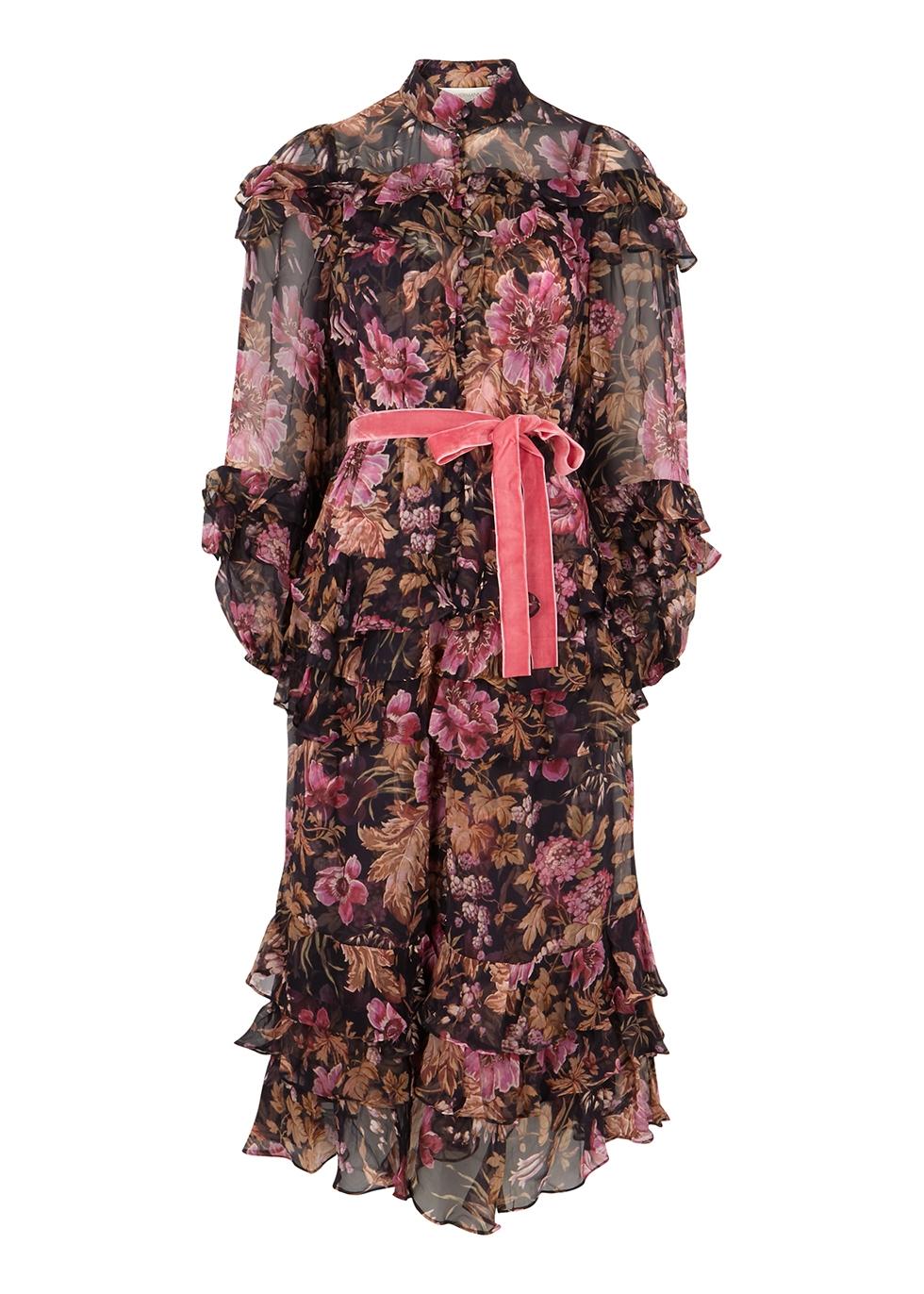 Lucky floral-print silk-chiffon midi dress
