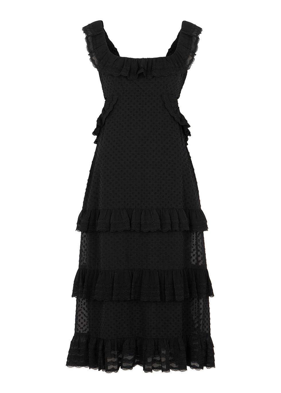 Black fil coupé midi dress