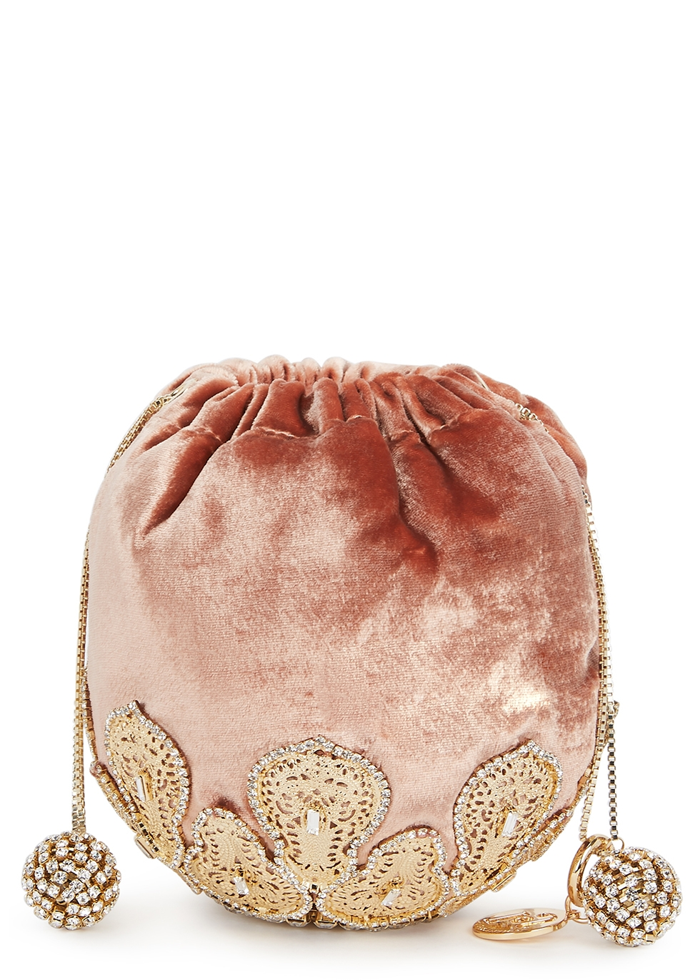 Fernanda crystal-embellished velvet bag