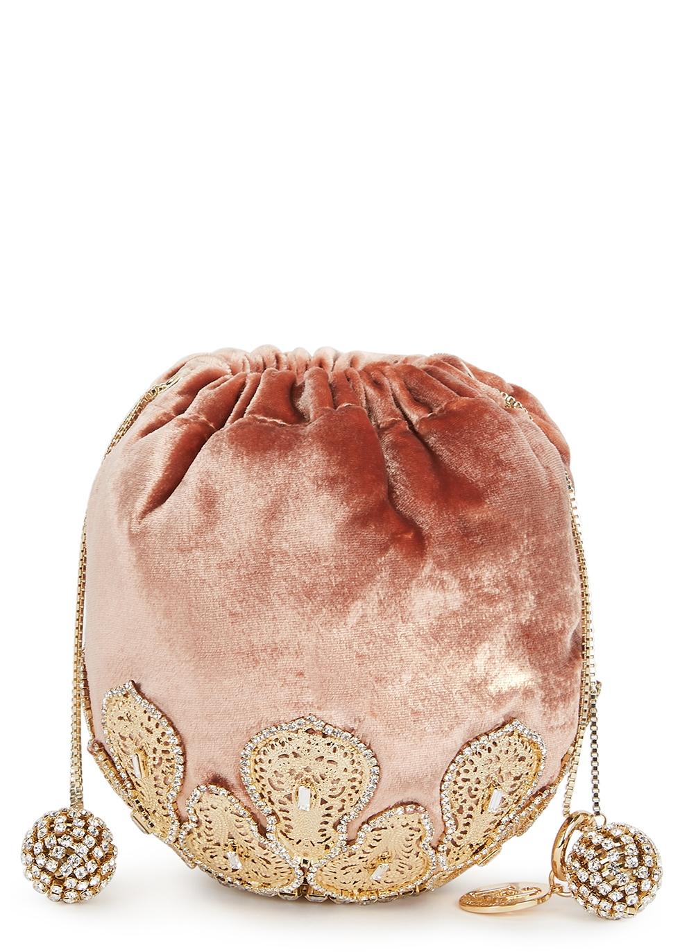 Fernanda crystal-embellished velvet bag