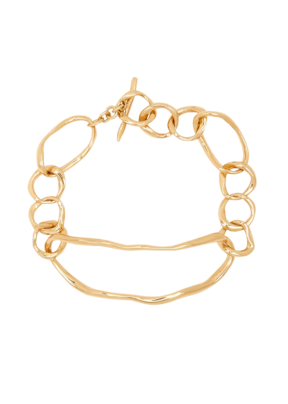 Distorted 24kt gold-plated bracelet