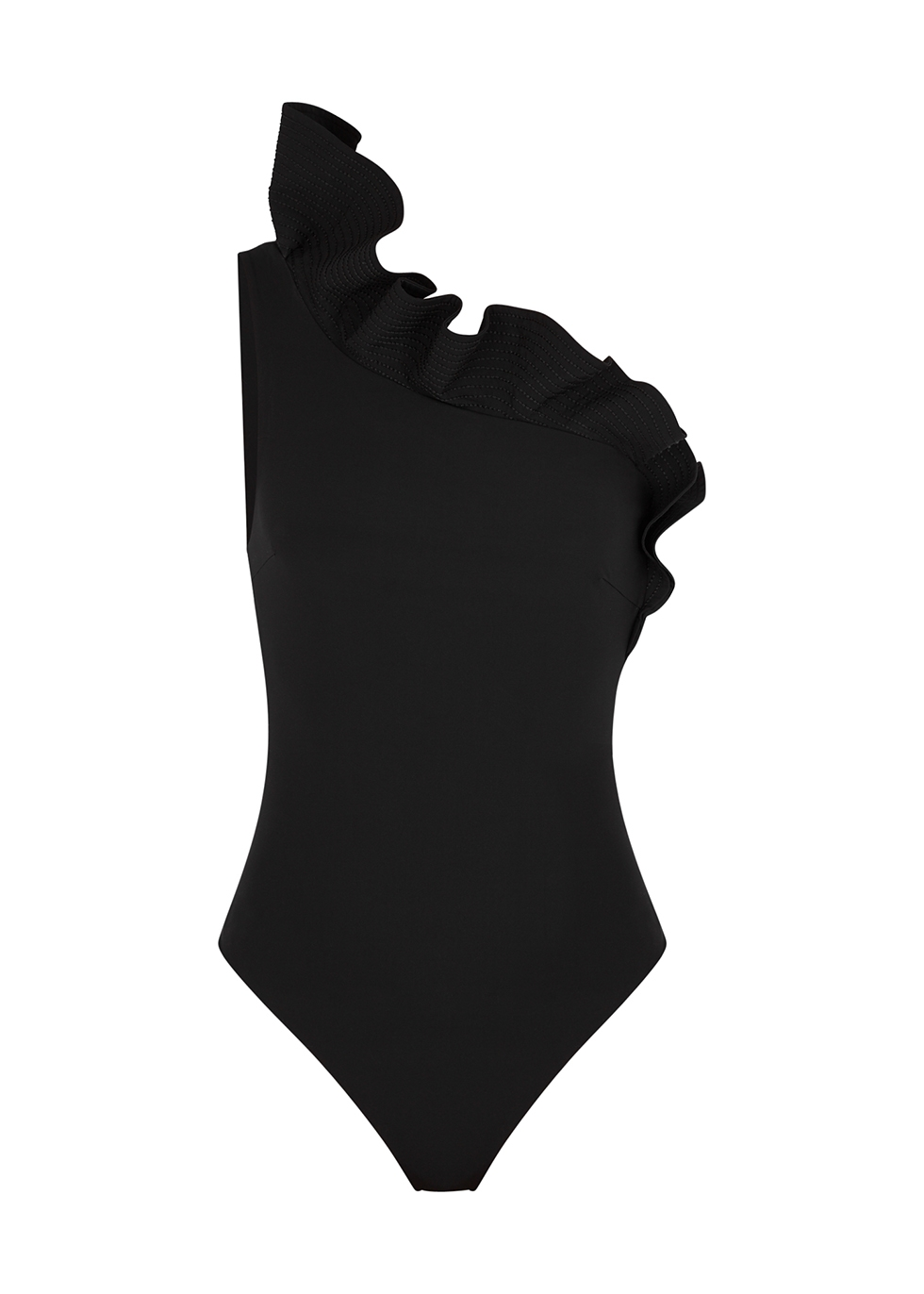 Black ruffled one-shoulder swimsuit