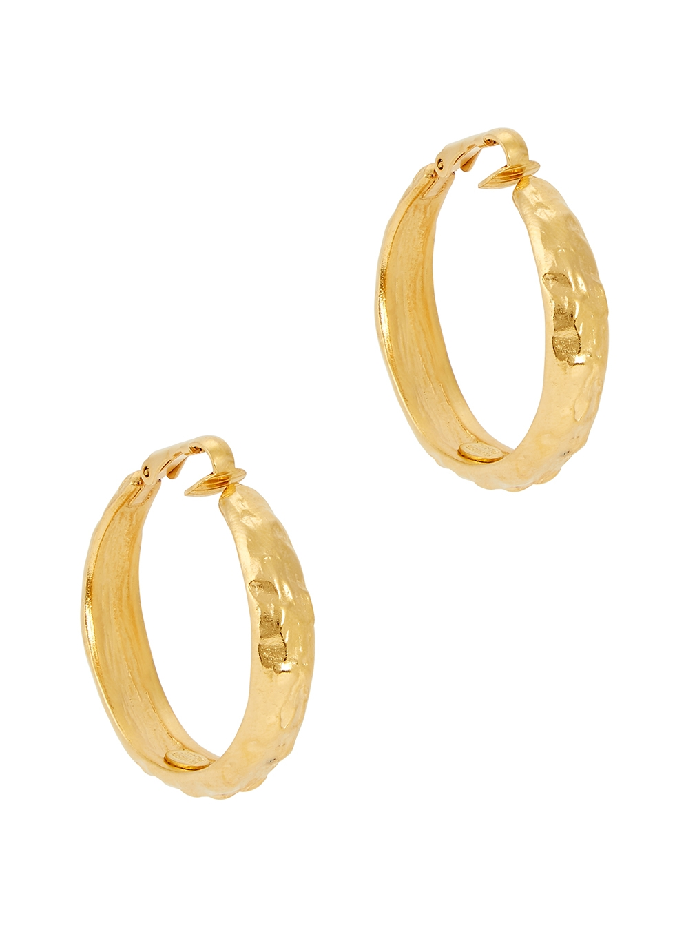 Hammered gold-tone clip-on hoop earrings