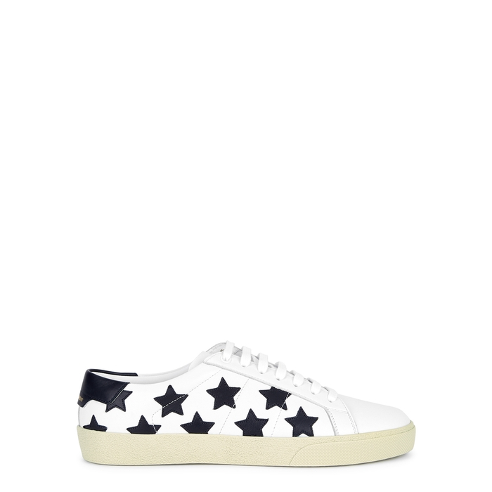 SAINT LAURENT COURT STAR-APPLIQUÉD LEATHER SNEAKERS