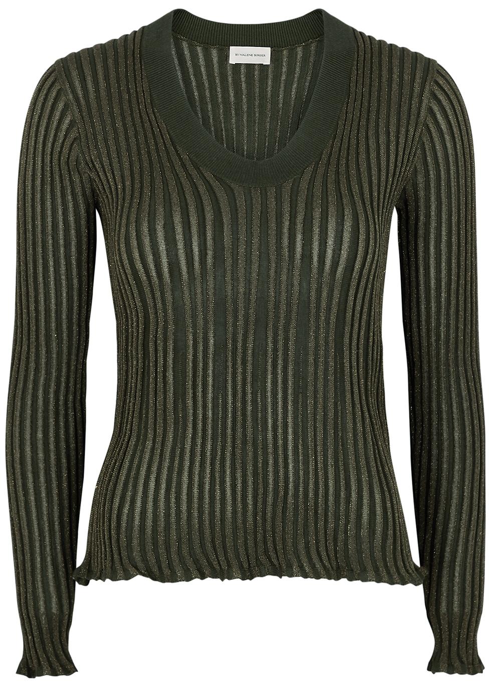 Bhesa army green ribbed metallic-weave jumper
