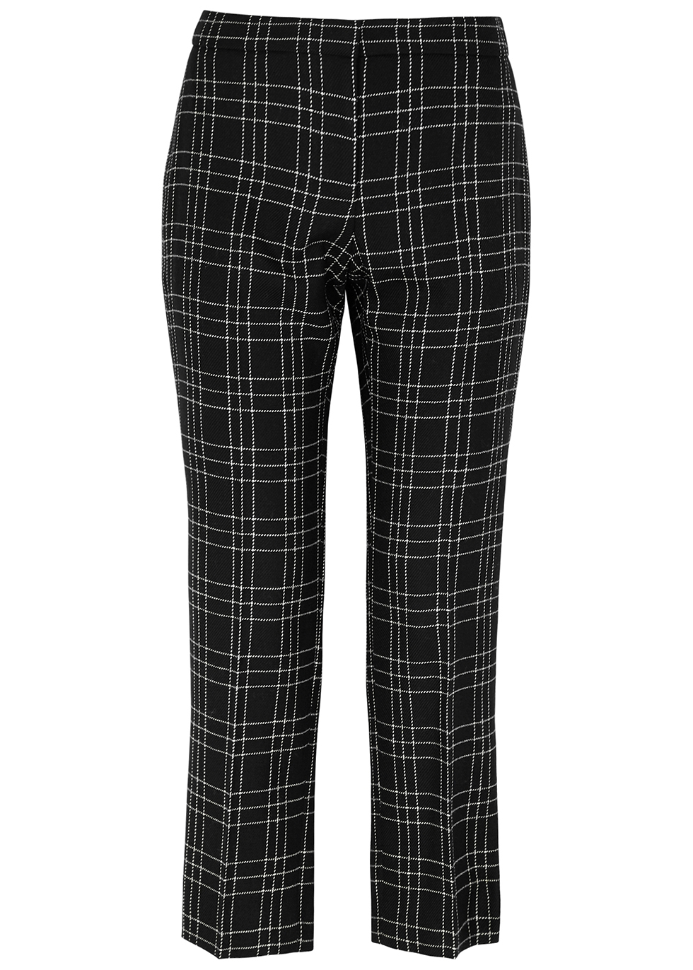 Monochrome checked slim-leg wool trousers