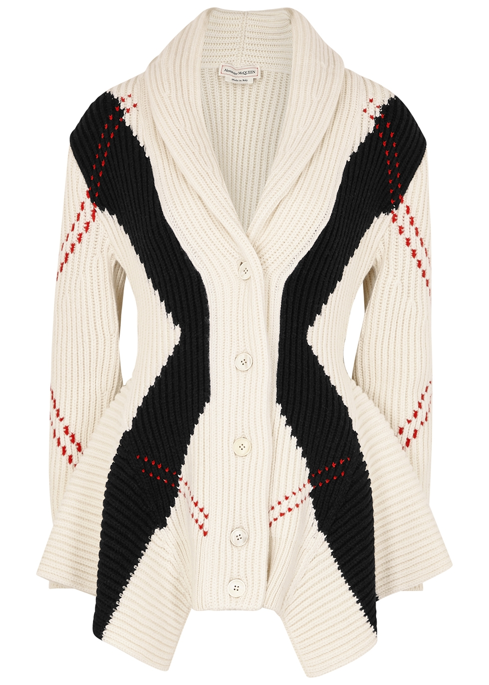 Argyle wool-blend cardigan