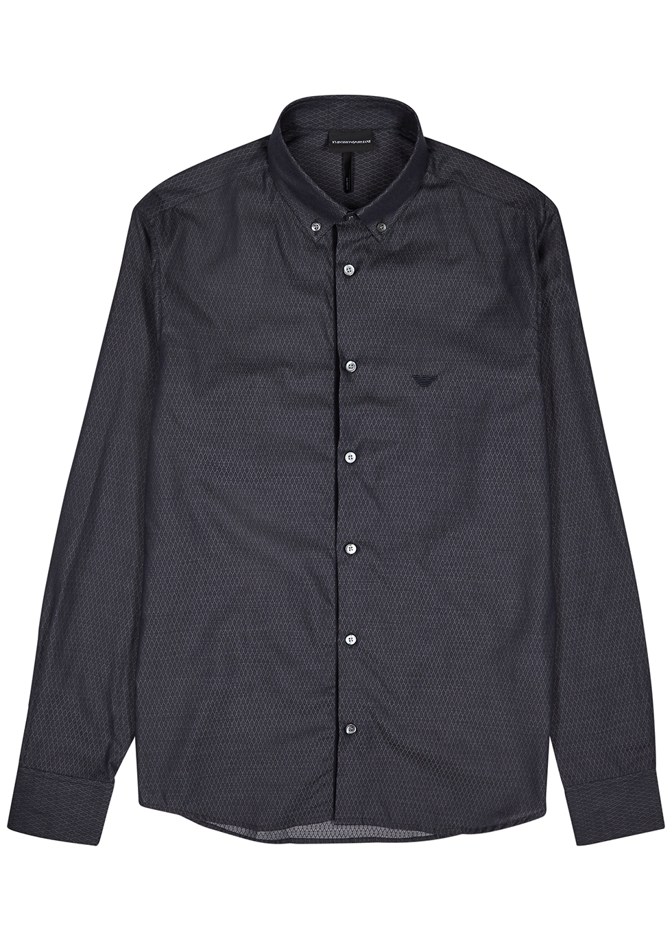 Midnight blue jacquard cotton shirt