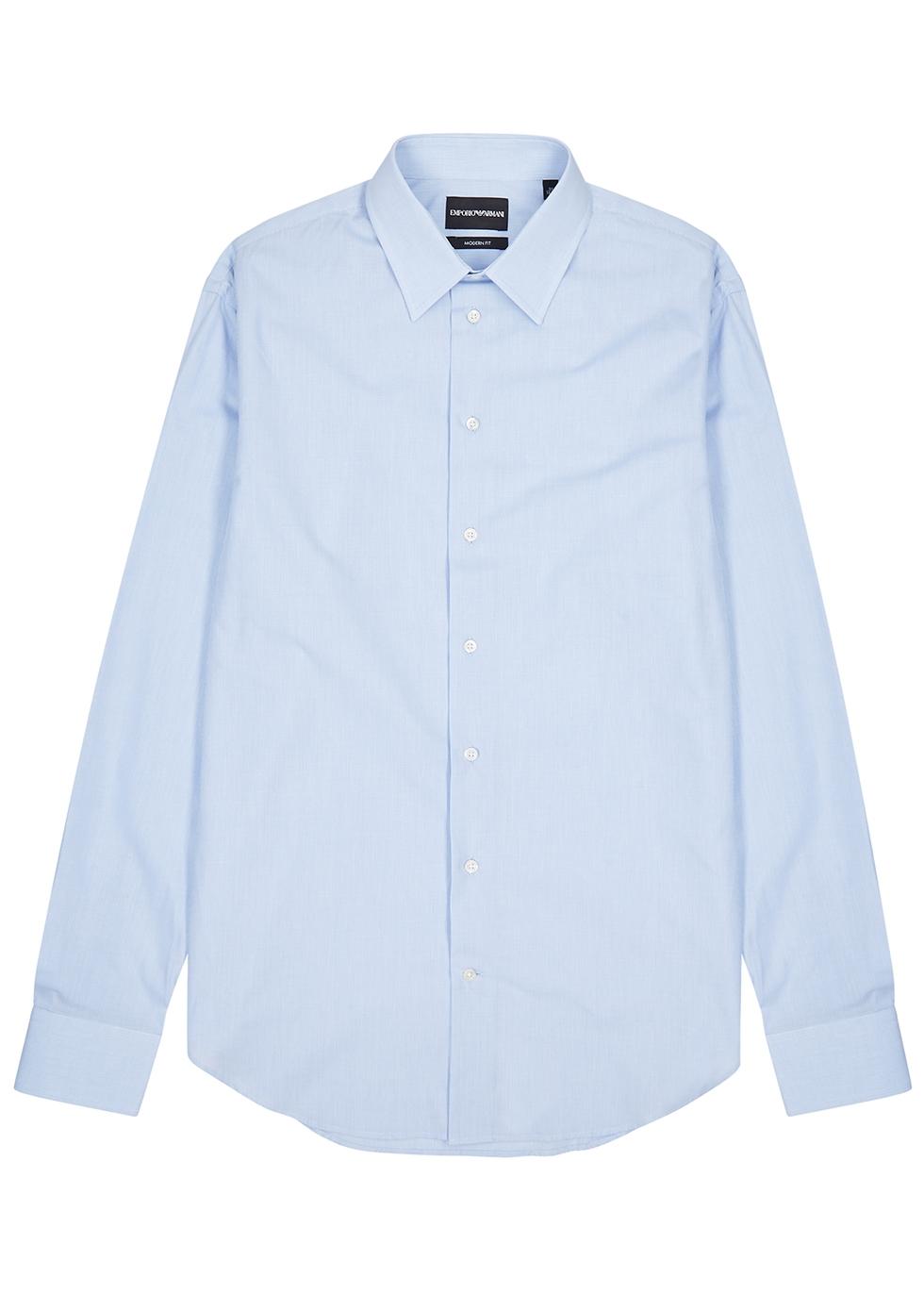 Blue checked cotton shirt