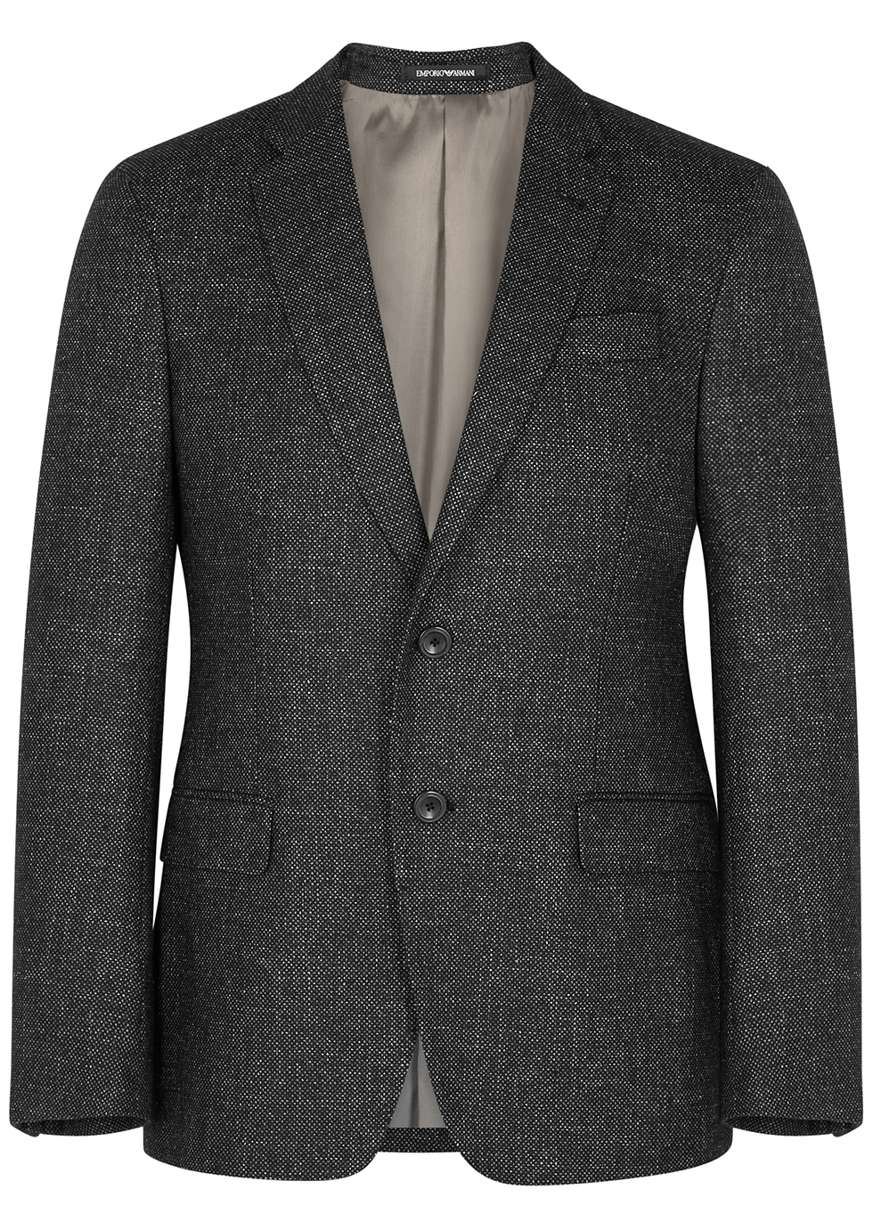 Charcoal textured-weave blazer