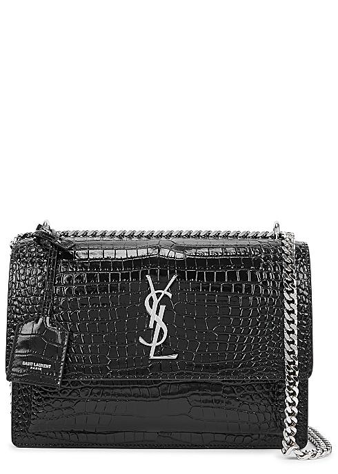 Sunset medium crocodile-effect leather shoulder bag - Saint Laurent