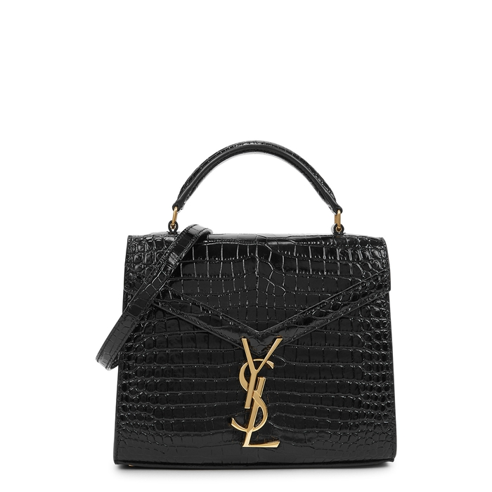 Saint Laurent CASSANDRA MINI CROCODILE-EFFECT TOP HANDLE BAG