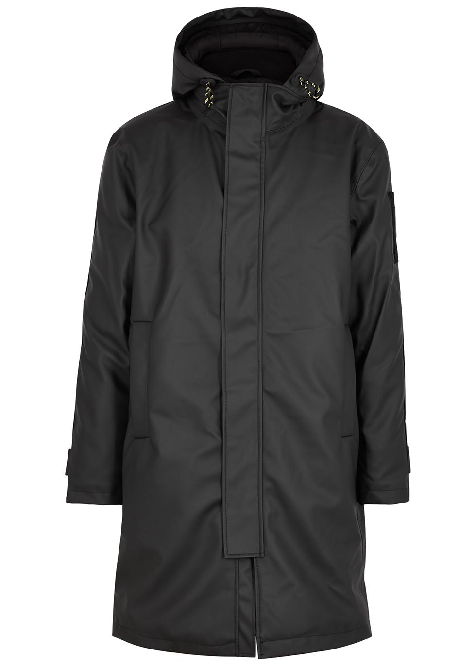 Black hooded coated twill coat