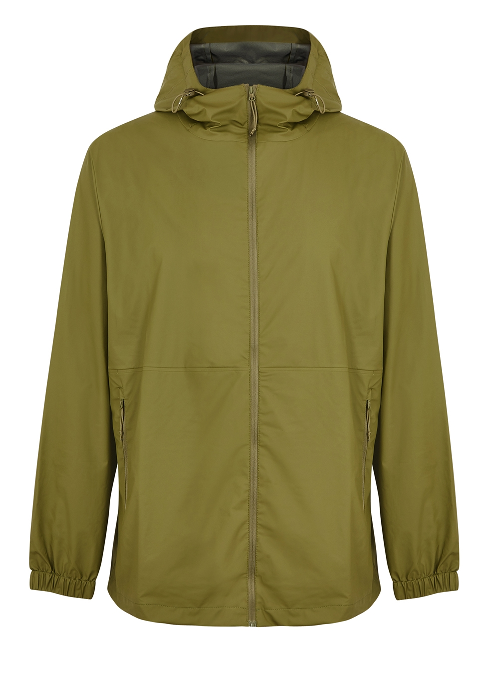 Ultralight green rubberised raincoat