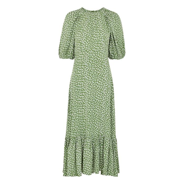 Bytimo Green Floral-print Midi Dress