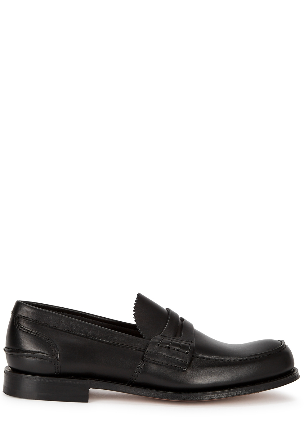 Pembrey black leather penny loafers