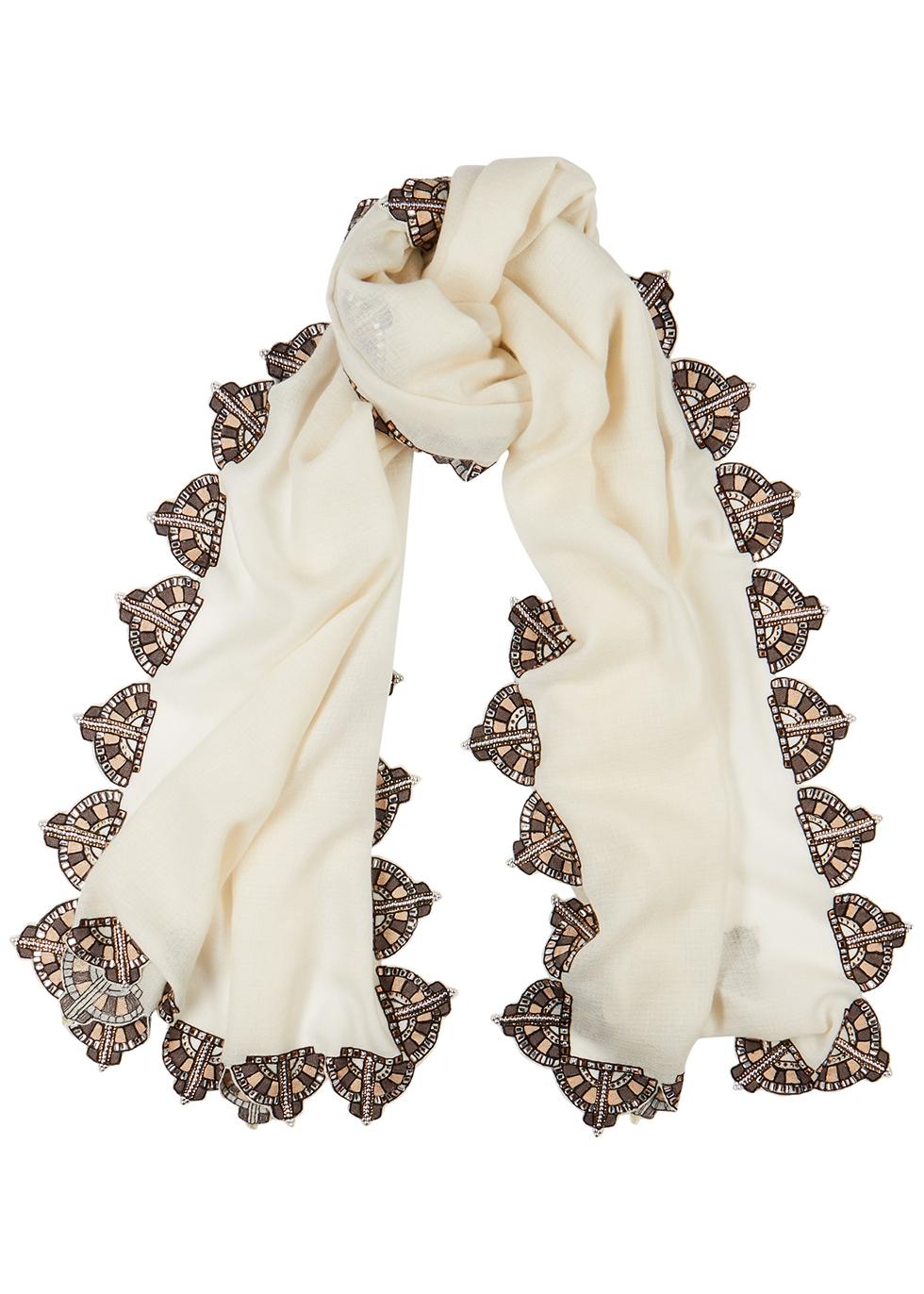 Betty Davis embellished cashmere scarf