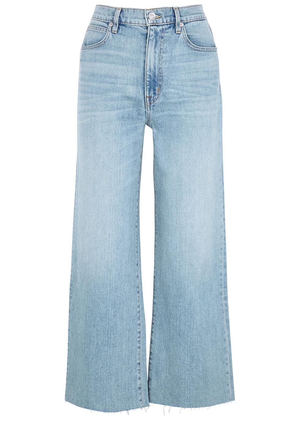 Grace light blue wide-leg cropped jeans