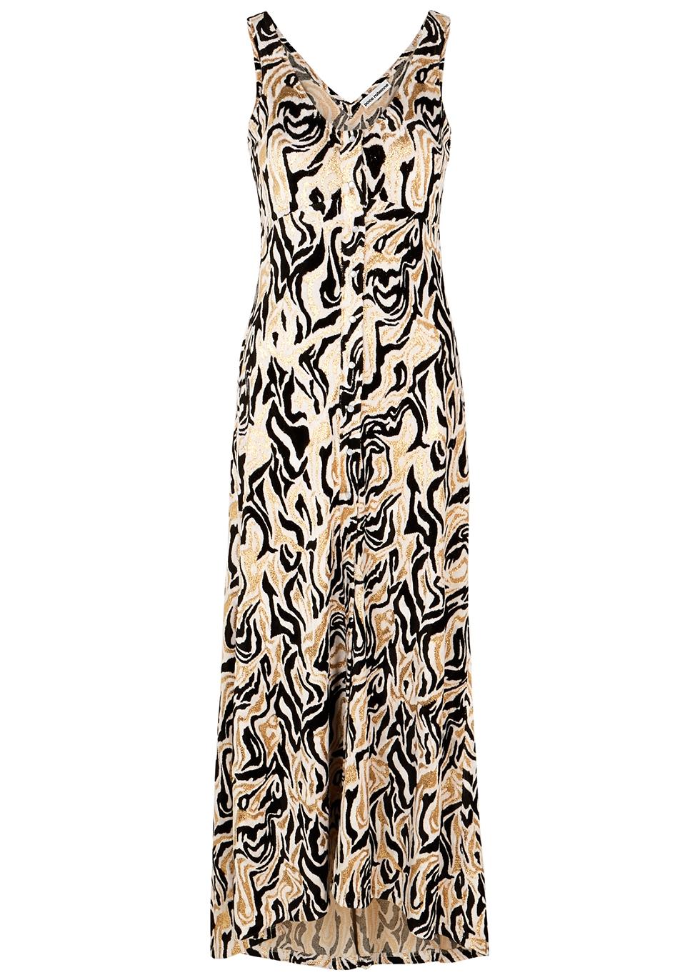 Metallic-jacquard velvet maxi dress