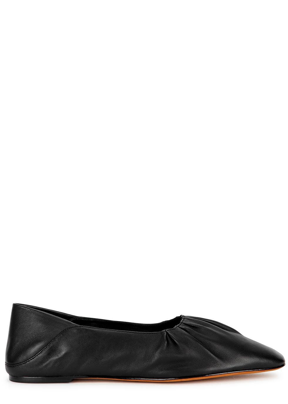 Kali black leather flats