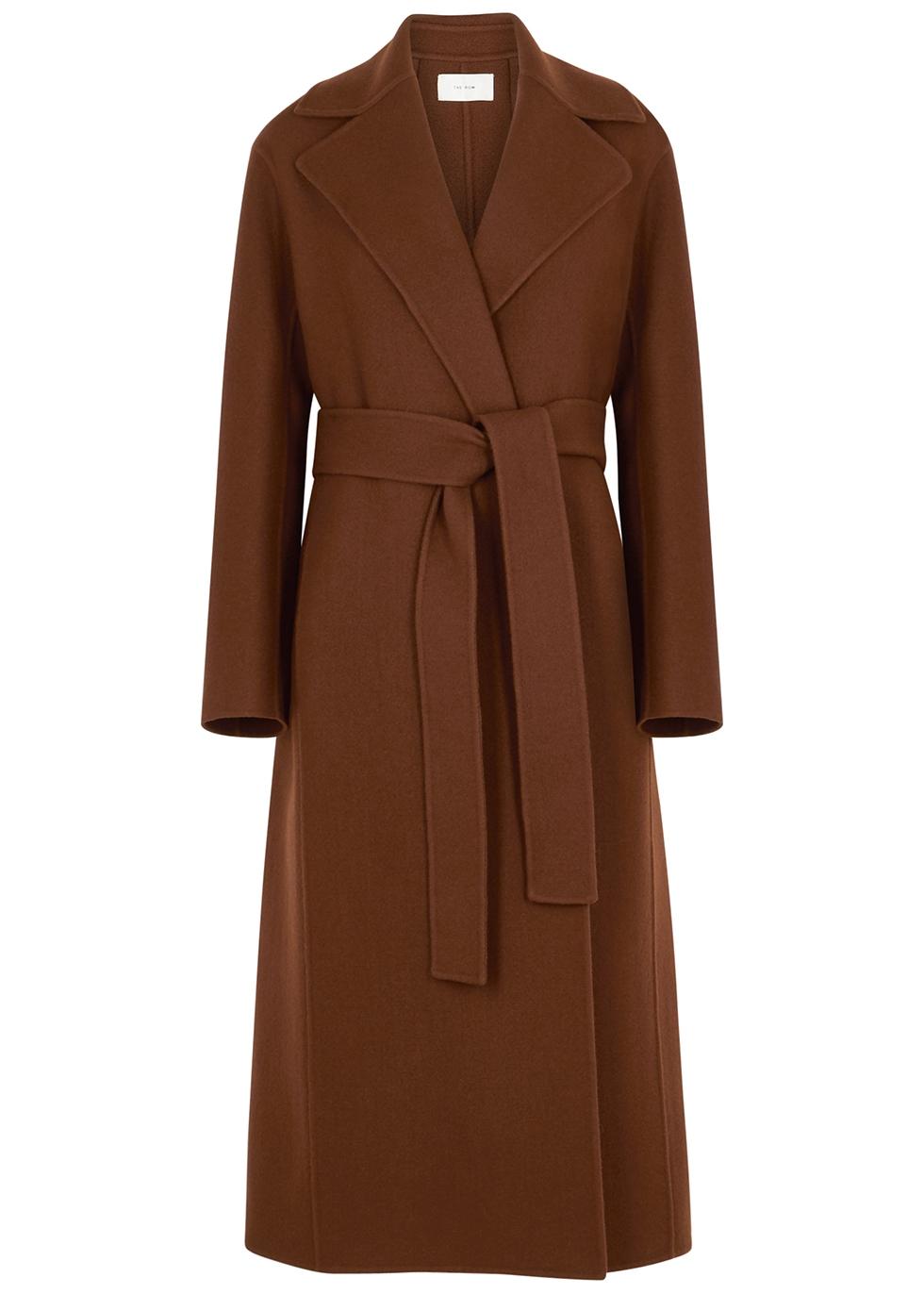 Mailka brown wool-blend felt coat