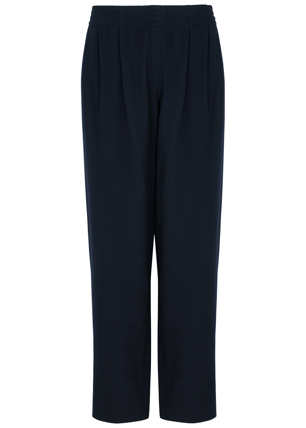 Olle navy straight-leg wool trousers
