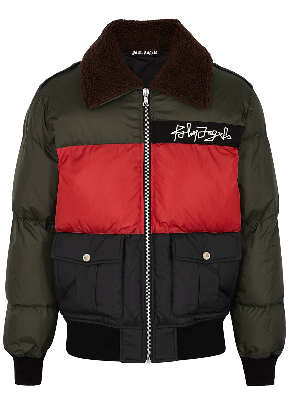 Panelled quilted shell jacket