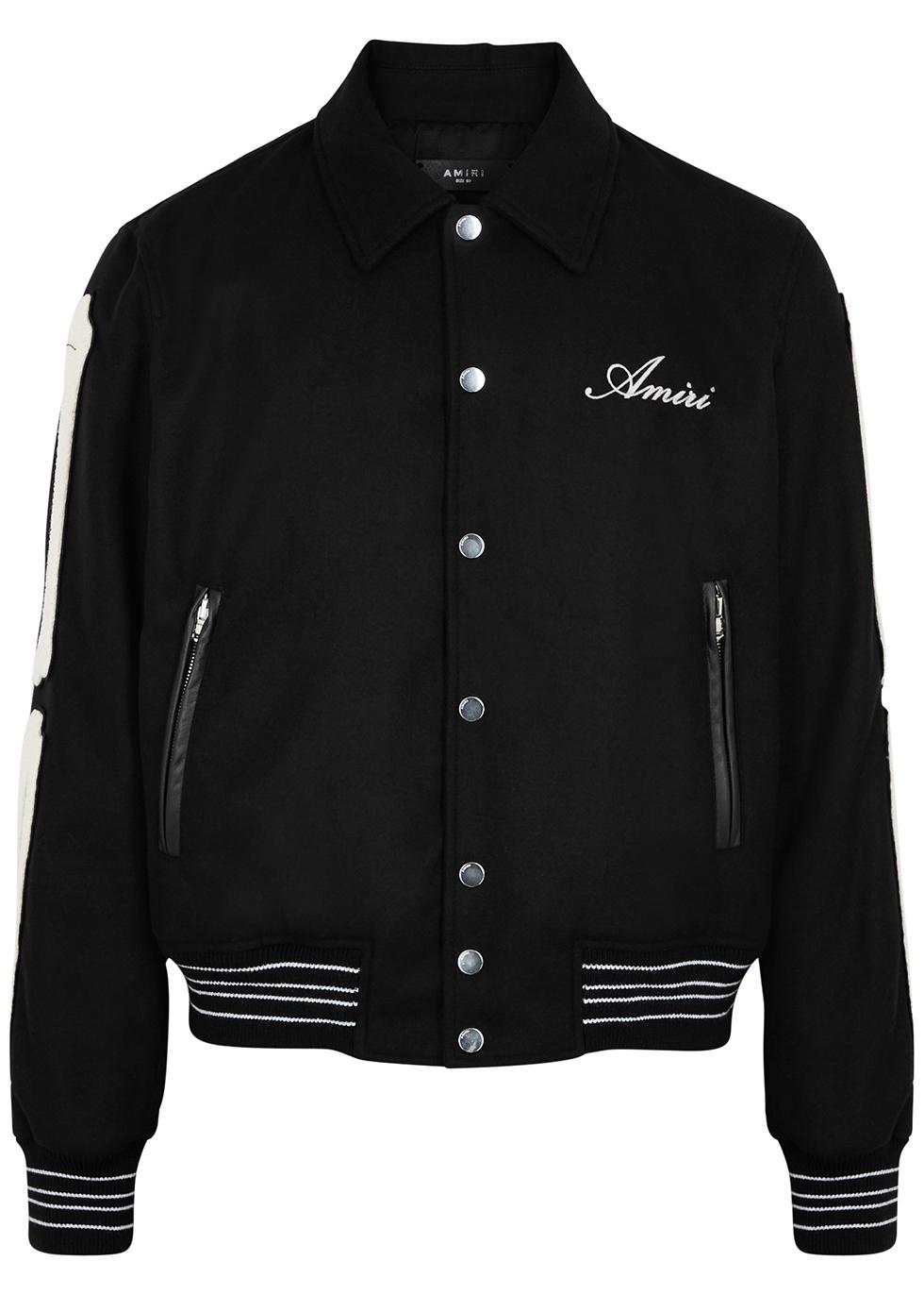Bones appliquéd felt bomber jacket