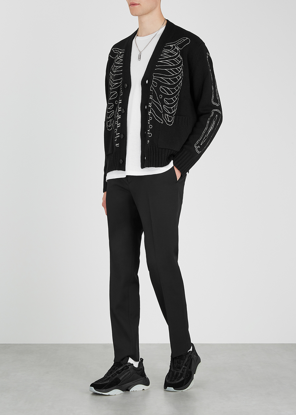 Amiri Skeleton black wool blend cardigan Harvey Nichols