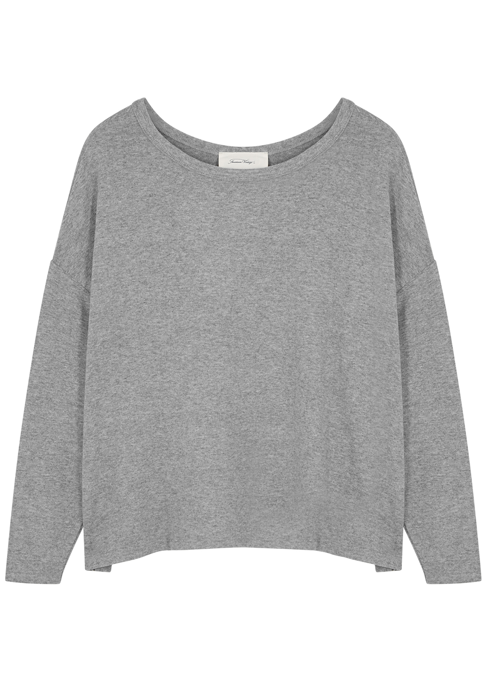 Vetington grey mélange brushed-jersey top