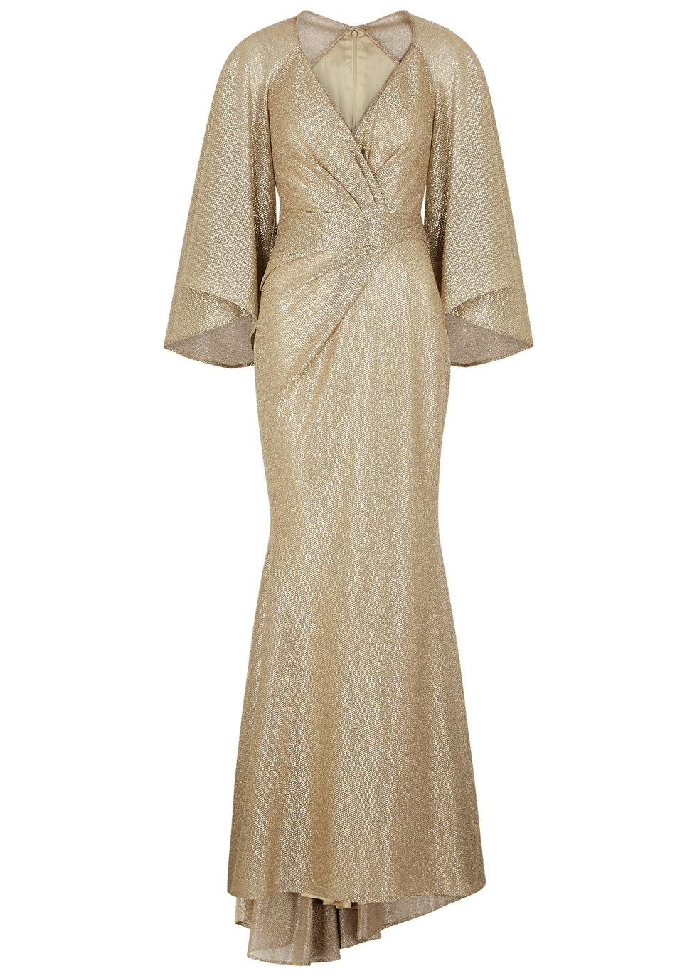 Conley gold foil-print gown