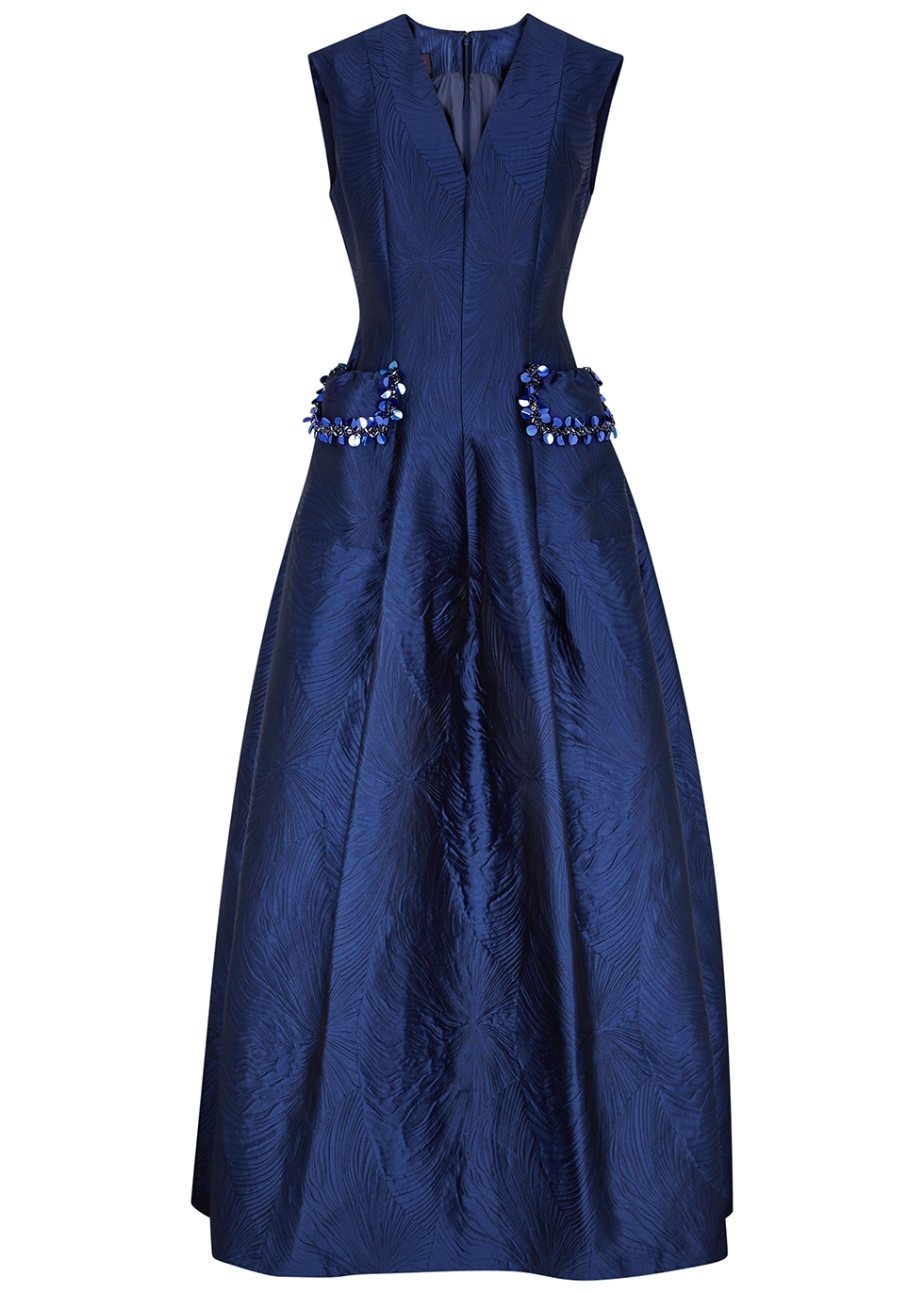Momo navy embellished jacquard gown
