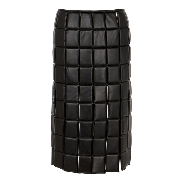 A.w.a.k.e. BLACK QUILTED FAUX LEATHER MIDI SKIRT
