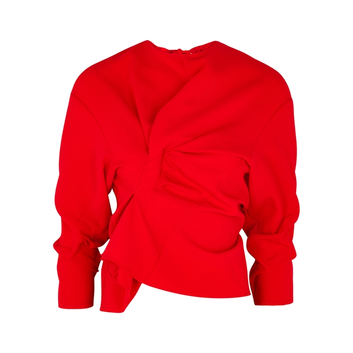 A.w.a.k.e. RED RUCHED CADY TOP