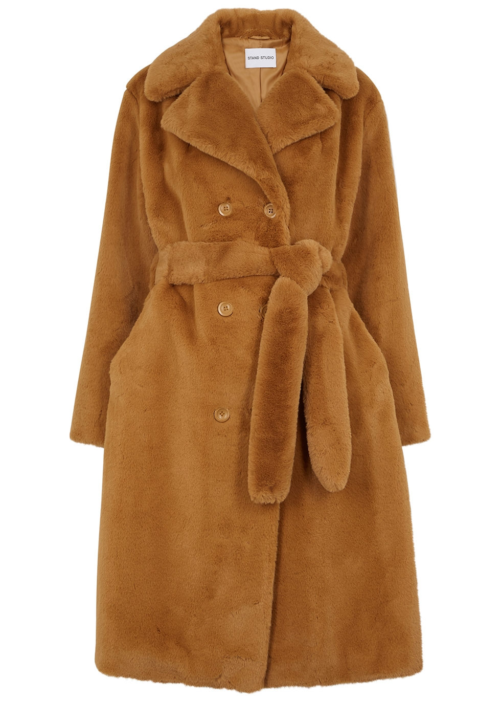 Faustine brown faux fur coat
