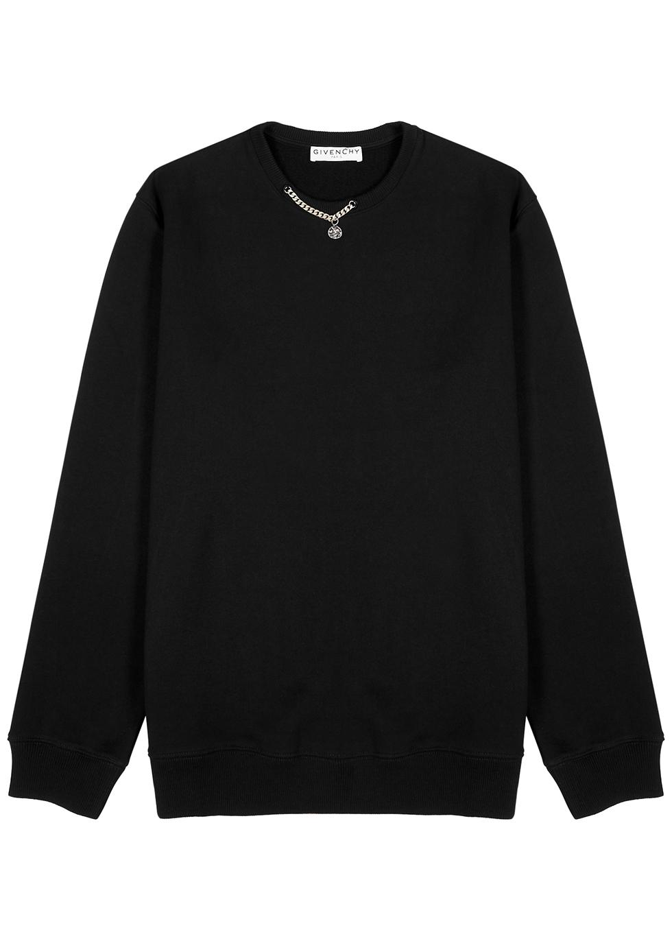 Black chain-embellished cotton sweatshirt