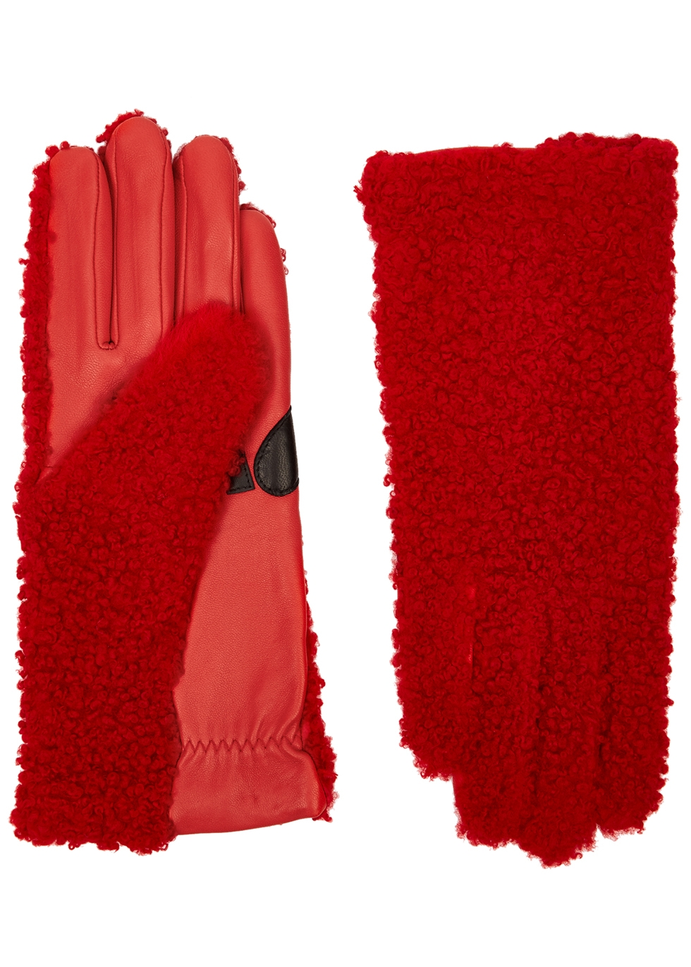 Jency red shearling gloves