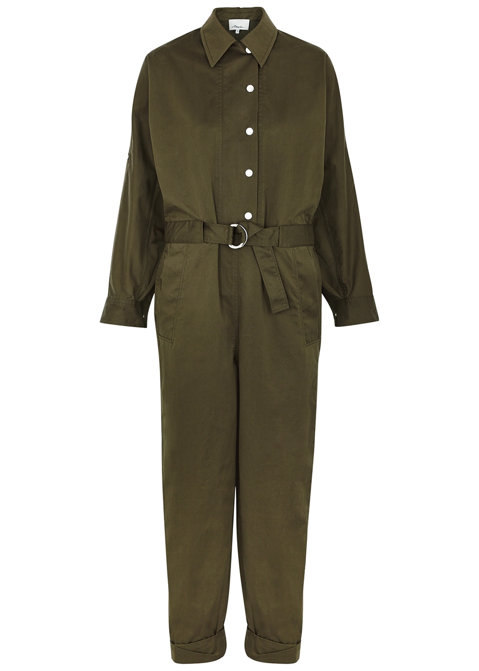 Army green twill jumpsuit