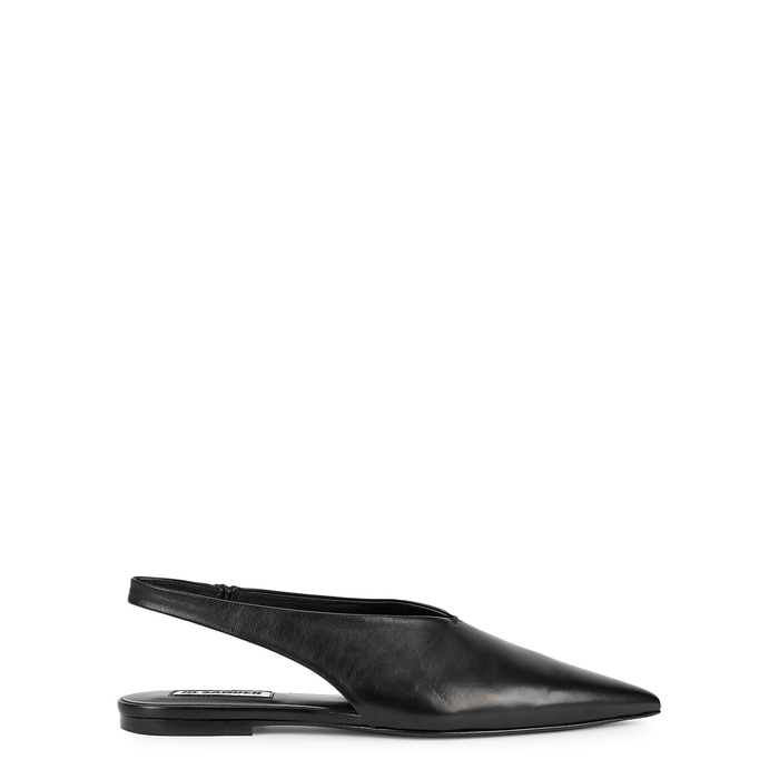 Jil Sander BLACK SLINGBACK LEATHER FLATS