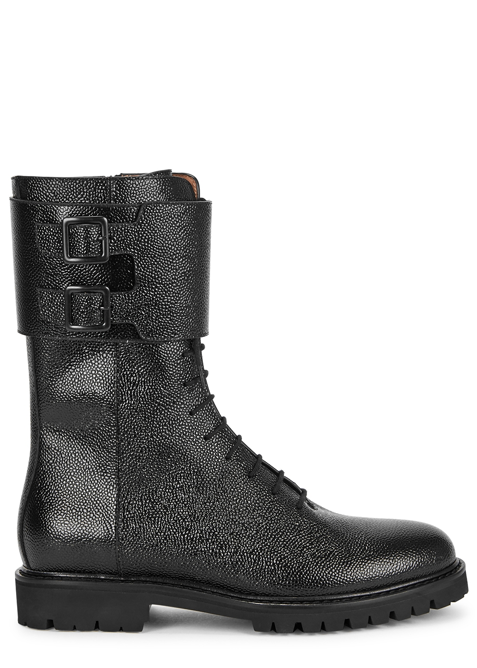 Black glossed leather ankle boots