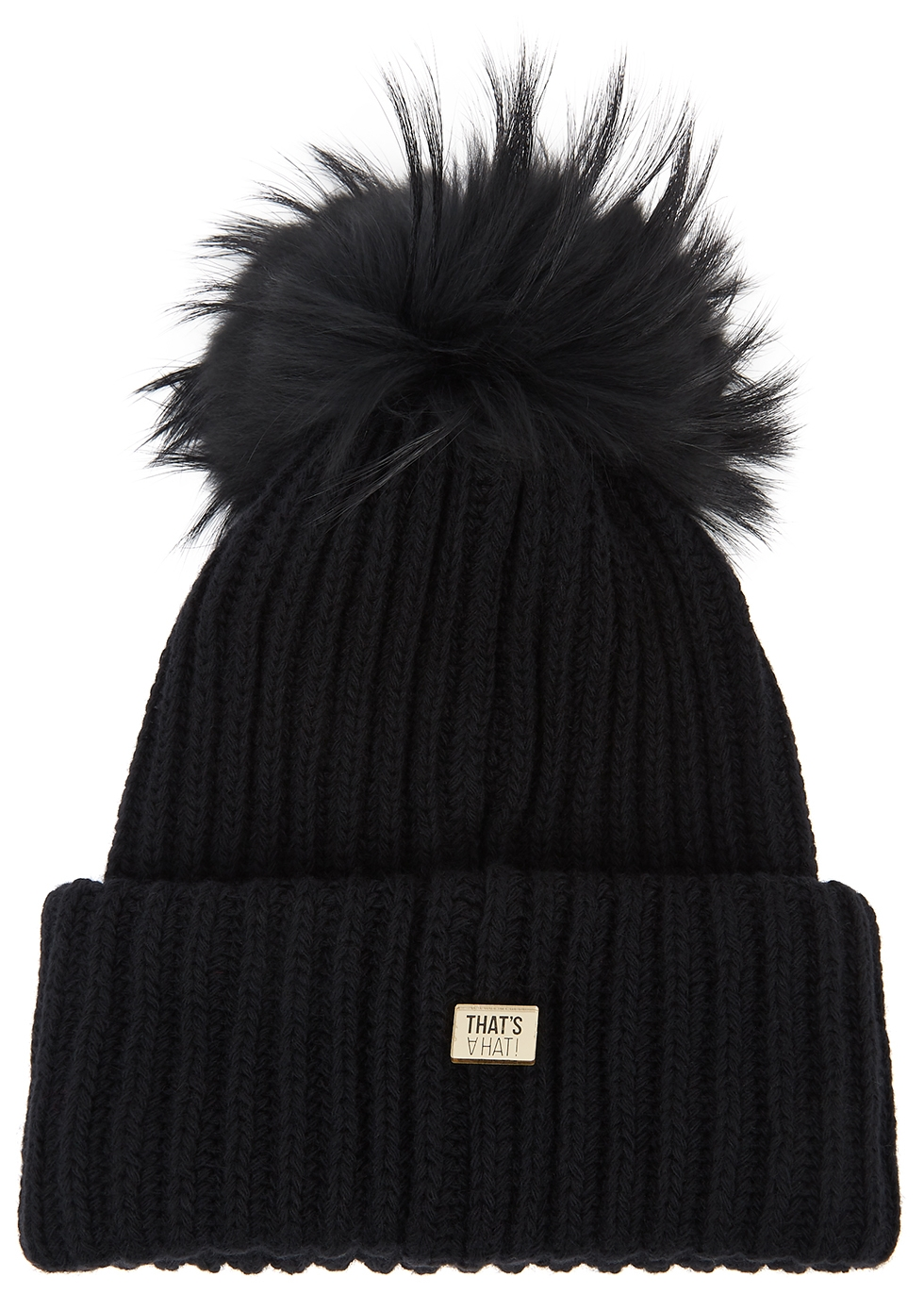 Taupe fur pompom wool-blend beanie