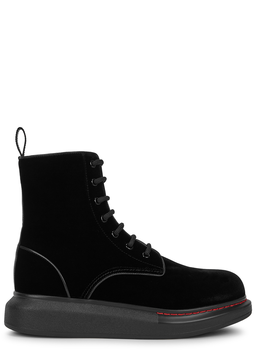 Hybrid black velvet ankle boots