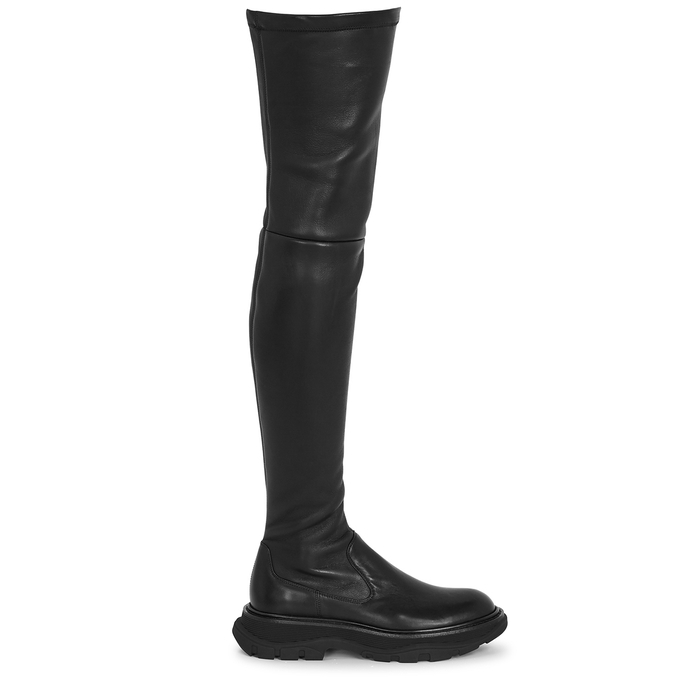 Alexander Mcqueen Tread Black Leather Over-the-knee Boots