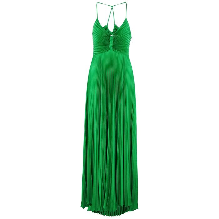 A.l.c ARIES GREEN PLISSÉ MAXI DRESS