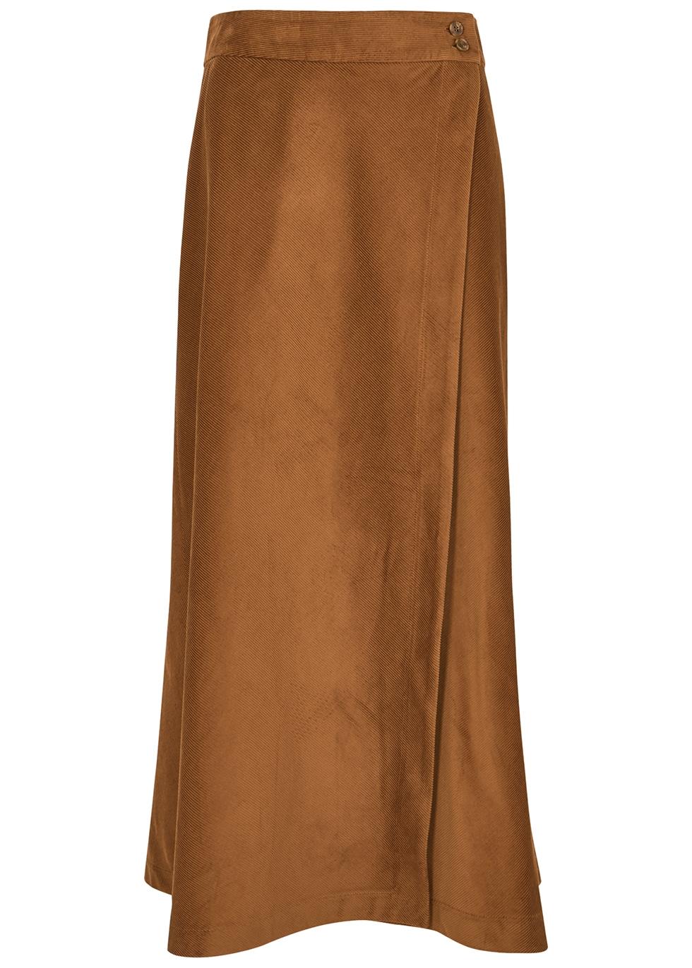 Theo brown corduroy midi skirt