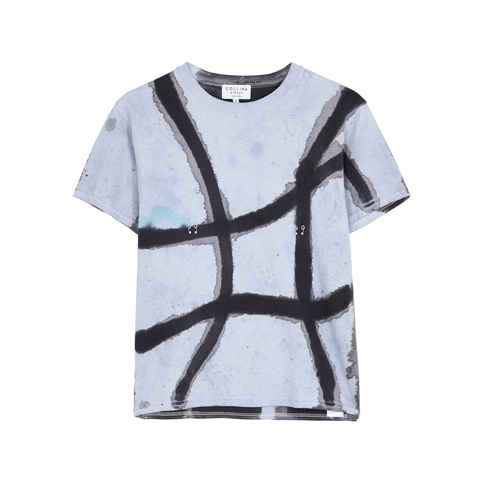 Collina Strada Tie-dyed Pierced Cotton T-shirt In Blue