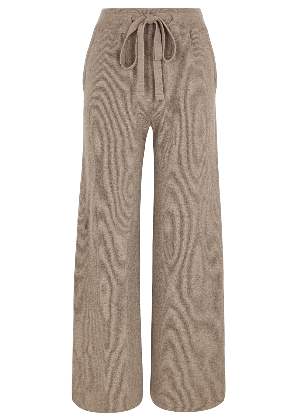 Oni taupe wide-leg ribbed-knit trousers